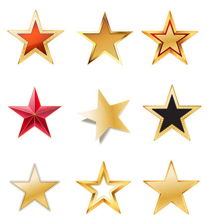set stars with gold, red, black colors