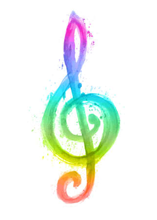 treble g clef: watercolor rainbow treble clef g on white