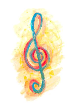 festival scales: watercolor treble clef g on white