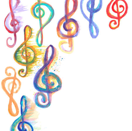 g clefs: background with watercolor treble clefs g on white