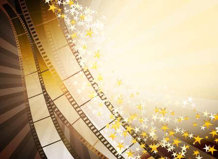 rollo pelicula: fondo con tira de película retro y estrellas de oro