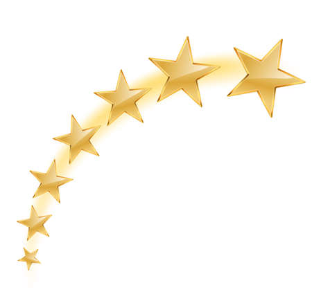 vector illustration of golden stars flying on white