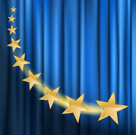 stars background: golden stars flying over blue curtain background with spotlight