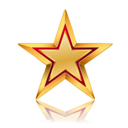 five stars: vector illustration of golden star with red frame