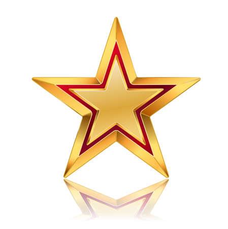 vektorové ilustrace zlaté hvězdy s červeným rámečkem Ilustrace