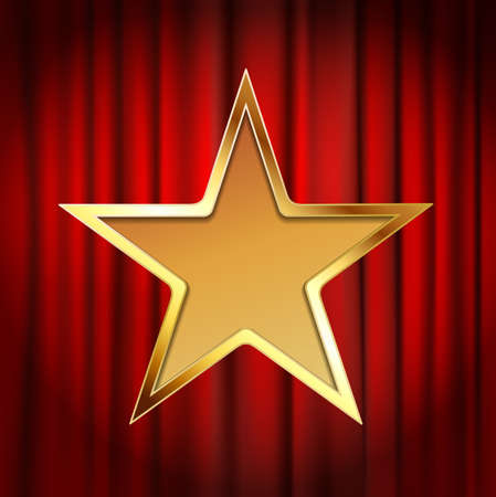 red theater curtain: golden star frame with red theater curtain background