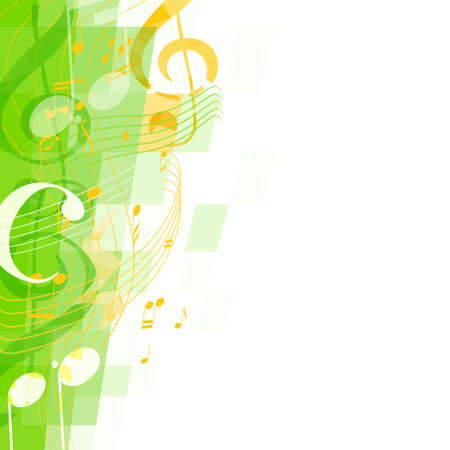 musical background: abstract green musical background with key and notes, musical signs