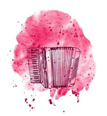 accordion: hand drawn accordion on watercolor splash