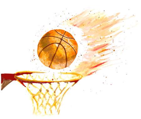 水彩バスケット ボール ボール バスケットにスローされます。