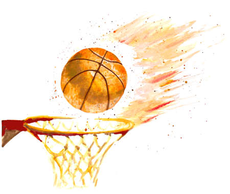 basketball ball on fire: watercolor basketball ball thrown in a basket