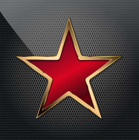 vector illustration of copper red star on grid background