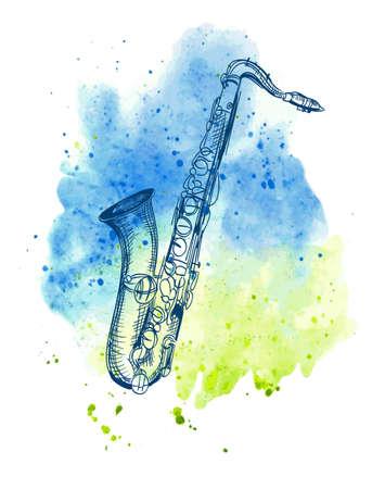 saxofón: dibujado a mano clásica saxofón alto en el chapoteo de la acuarela Vectores