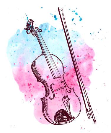 aquarel hand getekende viool met splash