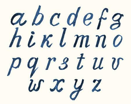cursive: watercolor hand painted alphabet letters