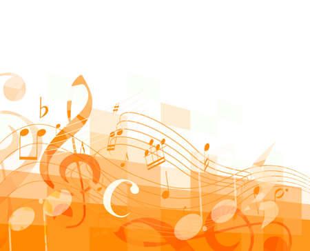 oranje horizontale mozaïek achtergrond met muzieknoten en g-sleutel. vector