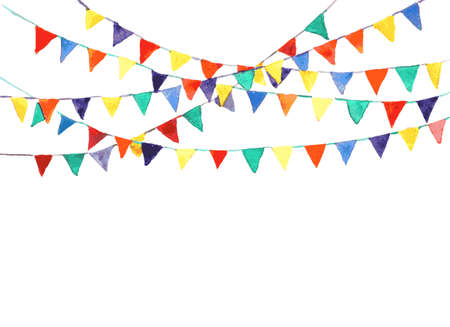bunting flag: bunting flags made with watercolor. vector