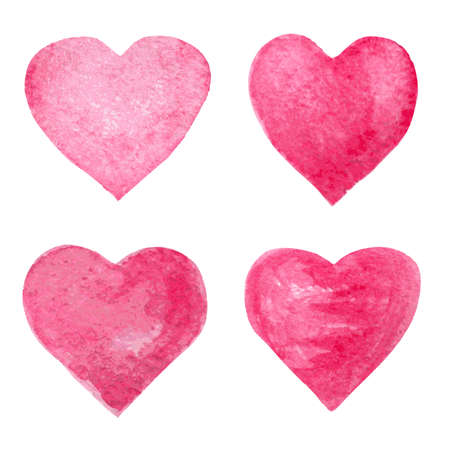 texturized: red watercolor hearts set
