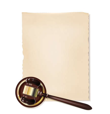 prosecution: old papirus and gavel as justice background Illustration