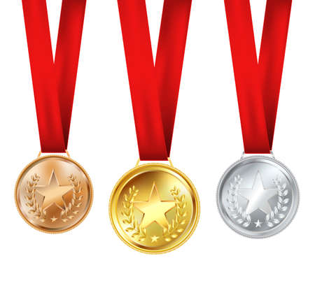 set of medals with red ribbons and stars