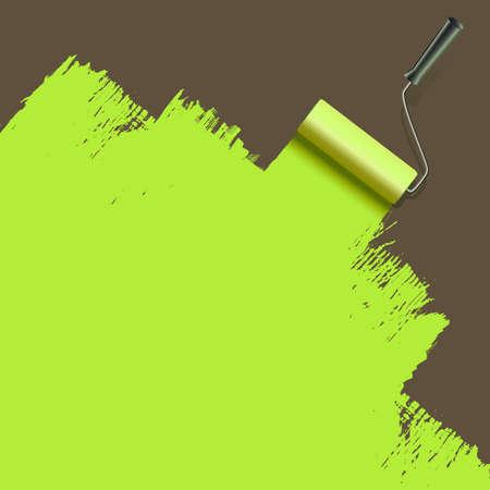 roller brush: rodillo de pintura del cepillo con el verde