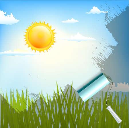 cielo con nubes: cepillo de rodillo sobre la luz del sol de fondo con la hierba