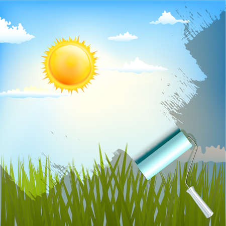 sky clouds: roller brush over sunlight background with grass Illustration