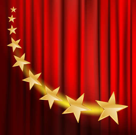 audiences: golden stars flying over red curtain background with spotlight
