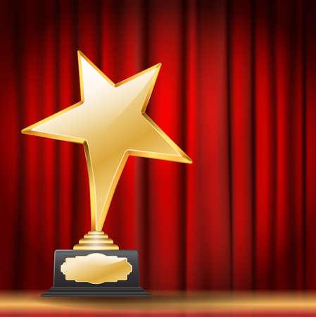 reconocimientos: premio estrella de oro sobre fondo rojo telón Vectores
