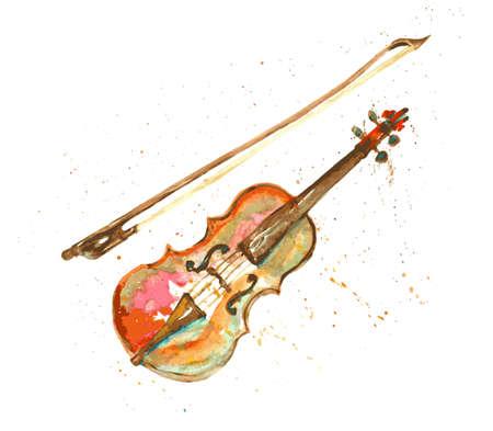 chiave di violino: violino disegnato mano Acquerello
