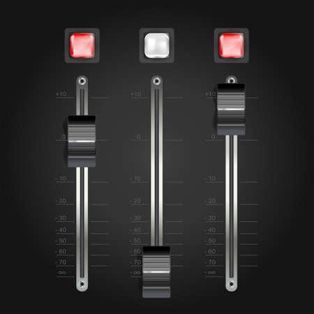 audio mengpaneel op zwart. vector