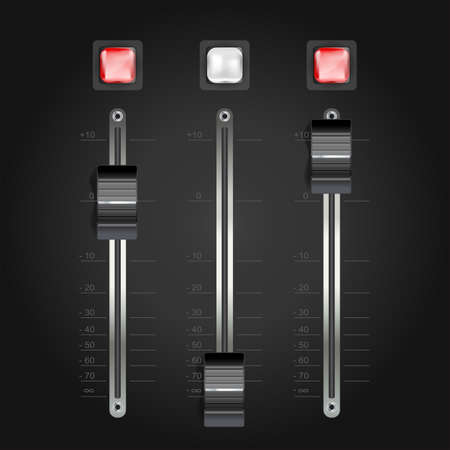 mixing console: audio mixing console on black. vector Illustration