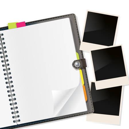 fotoframes op open agenda op wit. vector Stock Illustratie
