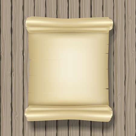 old letter: vertical ancient scroll on wooden background. vector Illustration