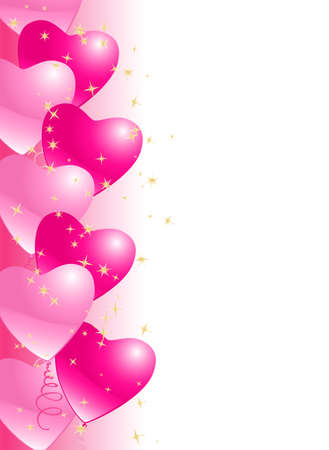 corazones azules: corazón fondo globos frontera con estrellas