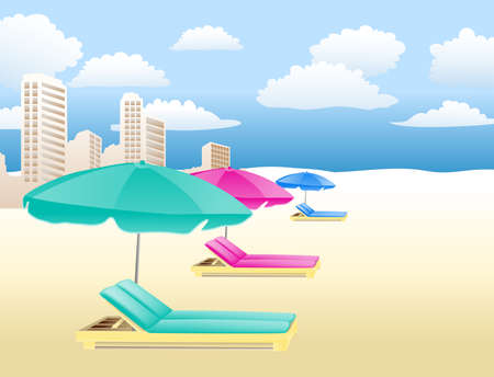 twiddle: chairs with umbrellas on the beach with clouds and houses