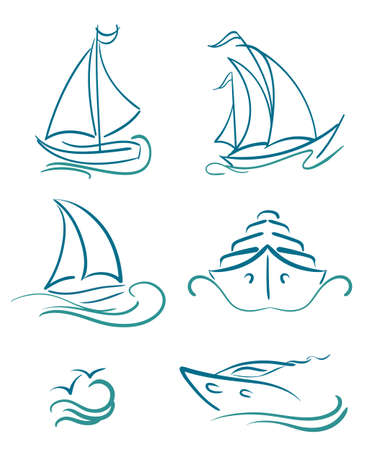 power boat: yacht and sailboats symbols on white Illustration