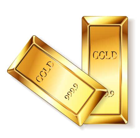 goldbars: golden bars on white. Illustration