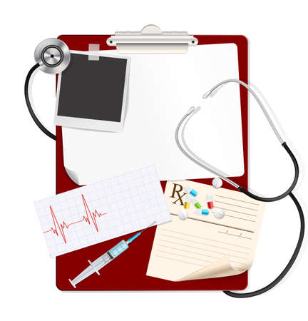 medical clipboard: stethoscope on medical clipboard with white blank paper, medical pills, syringe, cardiogram.