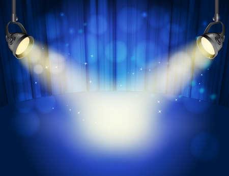 spot lights: blue curtain background with light yellow spot lights. Illustration