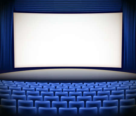 seats: cinema theater background with blue seats and blue curtains Illustration