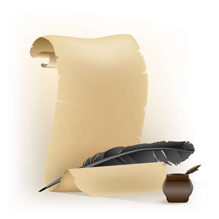 chronicle: black feather and old scroll on white Illustration