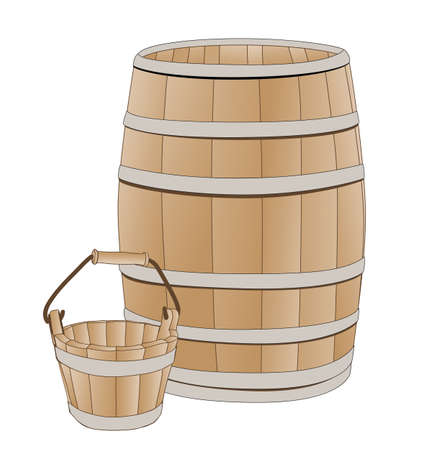 wooden barrel: wooden barrel and bucket Illustration