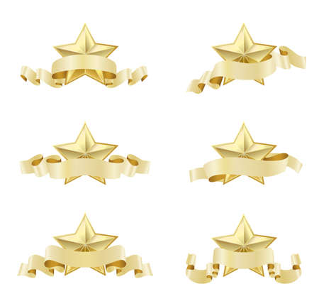 golden ribbons: set of golden realistic stars with ribbons on white