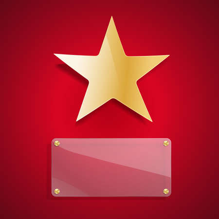5 door: golden star and glass blank background on red