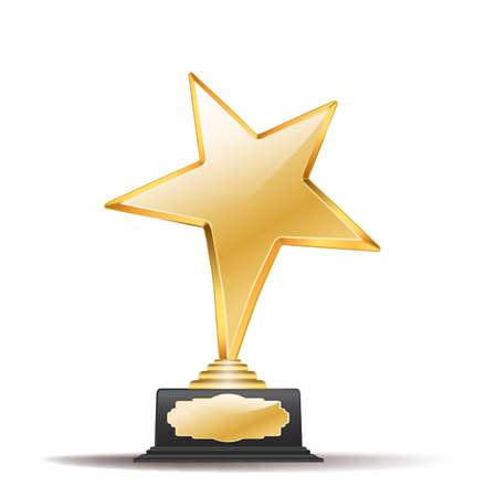 golden star: golden star with black award on white