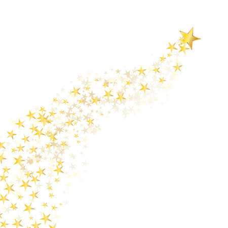star background: golden star flowing over white background Illustration