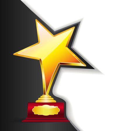 reconocimientos: fondo de oro de la concesión del trofeo. Vectores