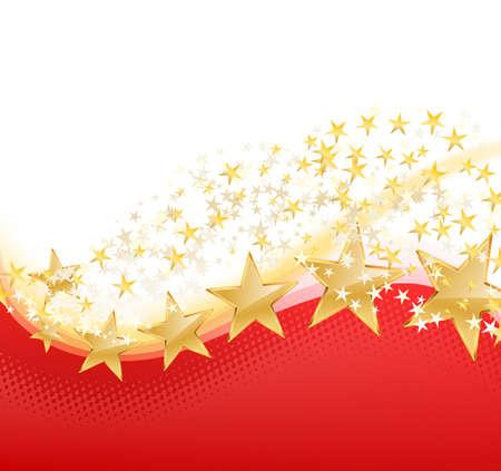 yellow star: illustration of golden stars flying on red