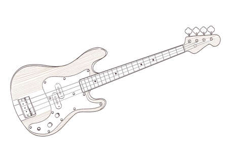 bass guitar drawing on white. vector Stock Illustratie