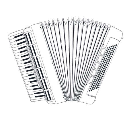accordion: accordion drawing on white. vector